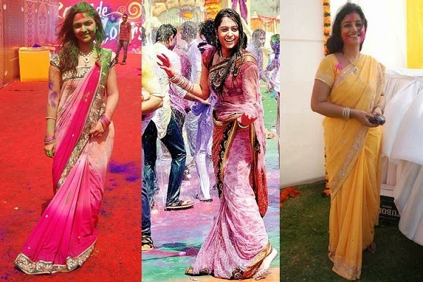 celebrate holi with colourful saree
