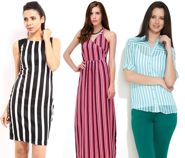 Clothing with vertical stripes