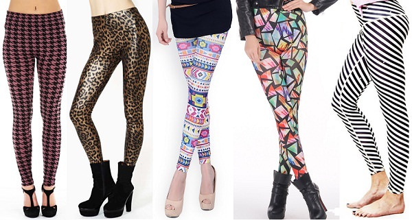 Perfect way to wear leggings: choose printed striped and geometrical print