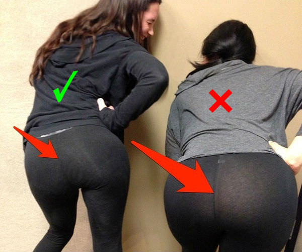right way to wear leggings: thick material yoga pants