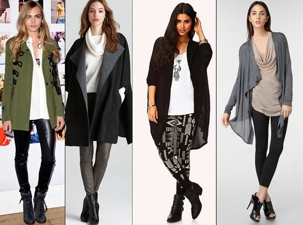 Perfect way to wear leggings: pair with jacket cardigan or long hoodie