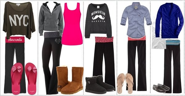 yoga pants dressup options: Go with everything from t-shirt to sweatshirt