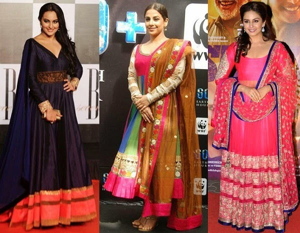 anarkali suits for apple shaped body
