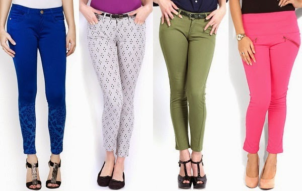 skinny cropped pants in bright colors and pattern