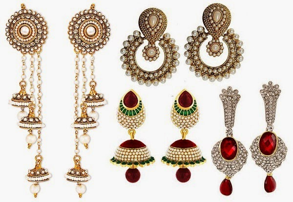 chandelier and dangly earrings for women blessed with pear shape body