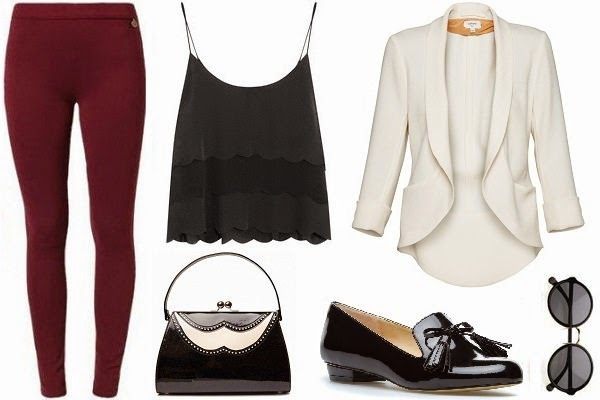 formal outfit with leggings, cami, and blazer