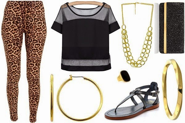 leggings party outfit with animal print leggings and sheer top