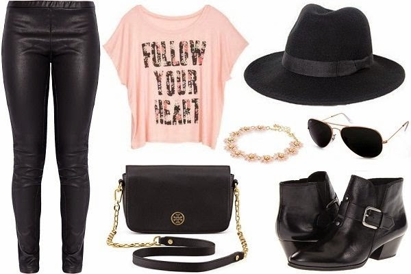 fashionable outfit with leggings, ankle boots and off the shoulder tee