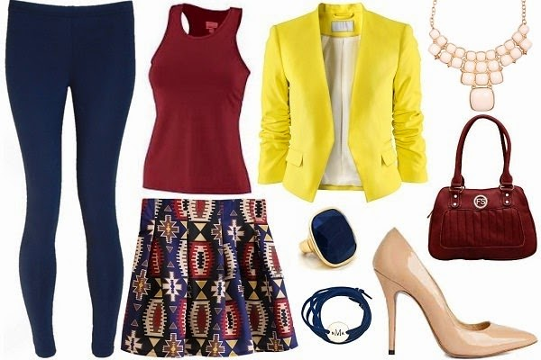 leggings under mini skirt outfit with blazer