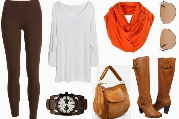 outfits with leggings, tall boots, loose fit top and peppy scarf