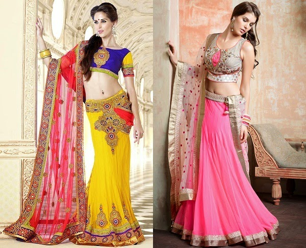 suitable lehenga fabrics for women with hourglass body shape