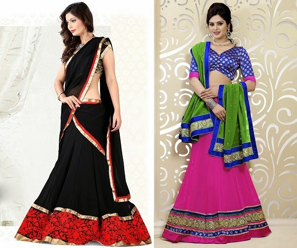 lehenga material for women with pear shape