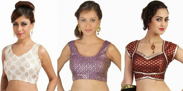 suitable saree necklines for apple shaped women