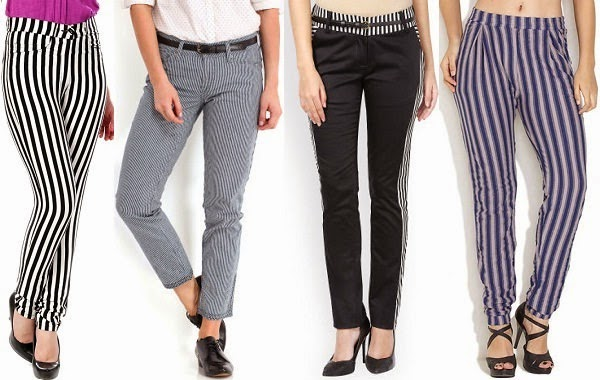 slim fit striped pants for women