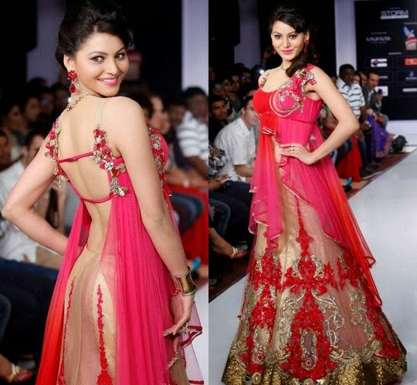 Red-pink bridal lehengas in open back style