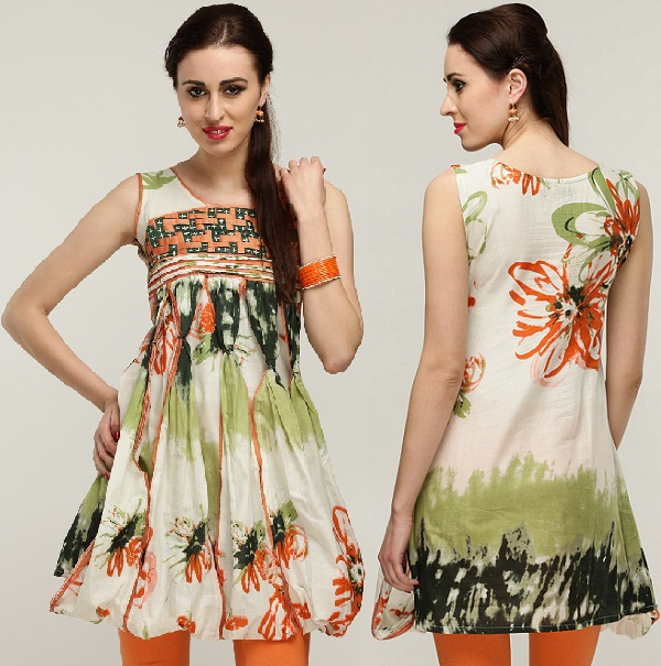 Sleeve Less Green and Orange Floral Printed Cotton Kurti