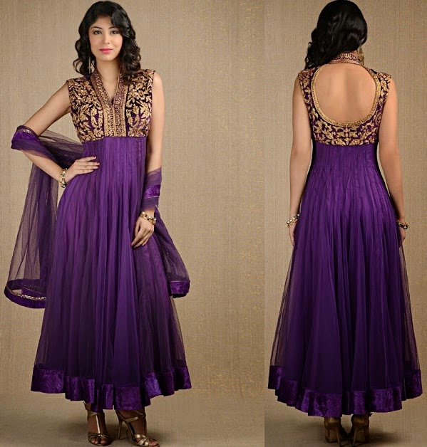Backless anarkali with heavy embroidery