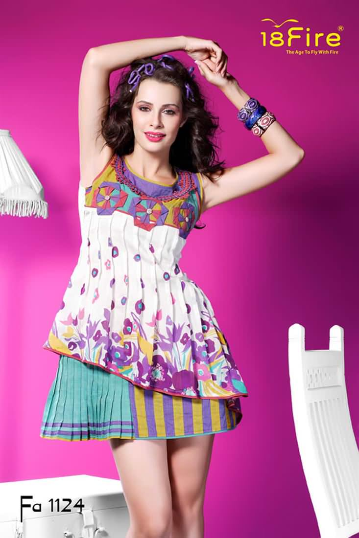 Sleeve Less Pleated Multi Color Floral Cotton Double Kurti