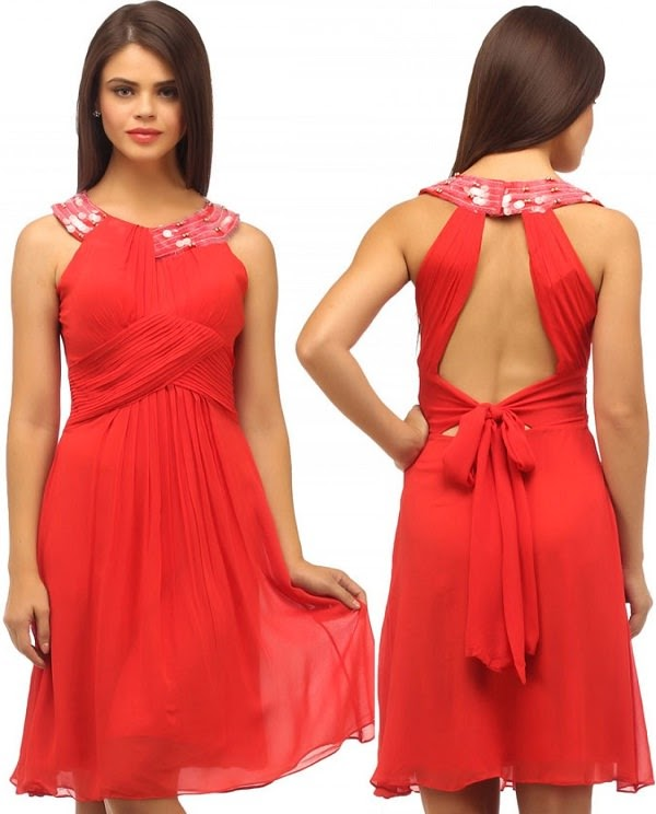Casual open back style party time dress