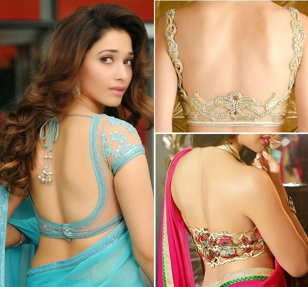 Open back saree blouse with cut design pattern