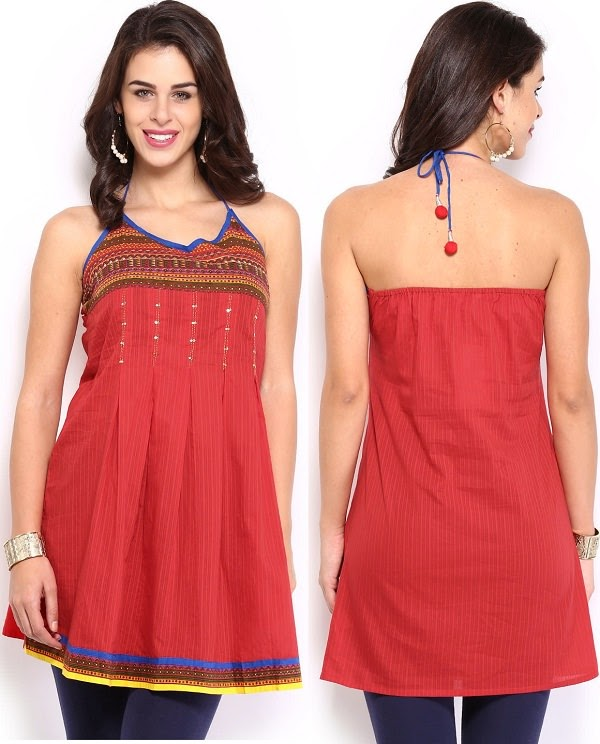 Red backless kurti for daytime