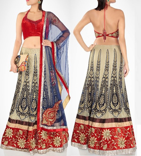 Open back style lehenga for modern bridal collection