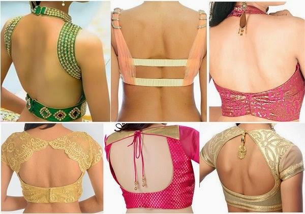 Open back style blouses to wear designer saree