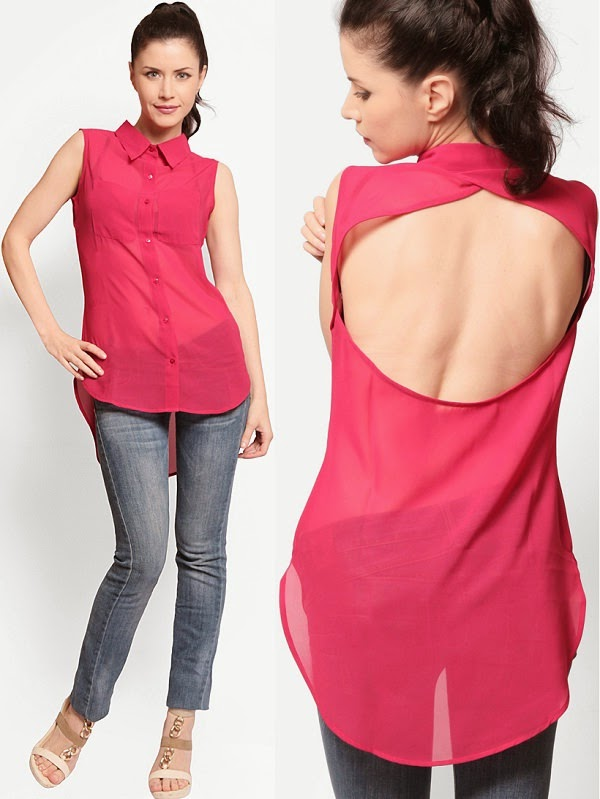 See-through shirt with round cut on back