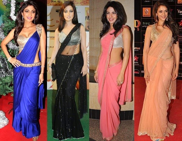 Bollywood actress in plain sari with shimmer blouse