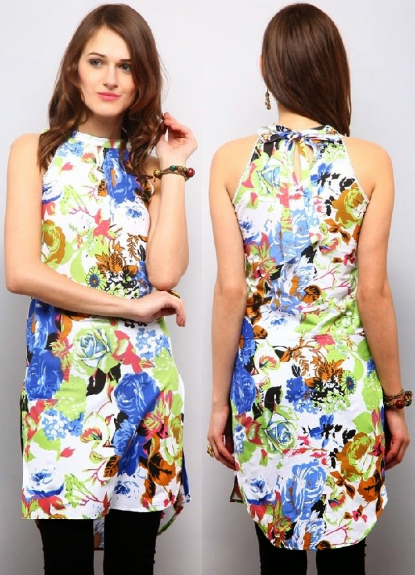 All over floral printed kurti for summer, cotton kurti neck designs images