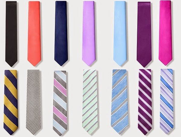 solid color and striped skinny tie