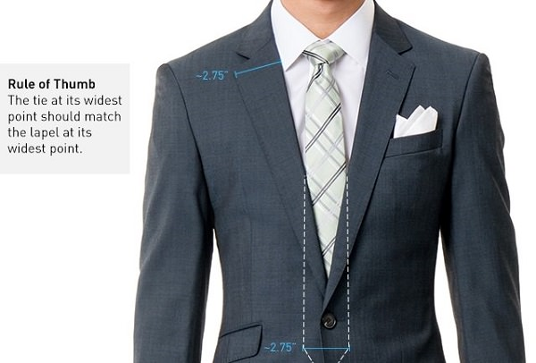 tie and jacket lapels should be similar