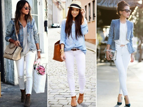 white denim paired with denim tops
