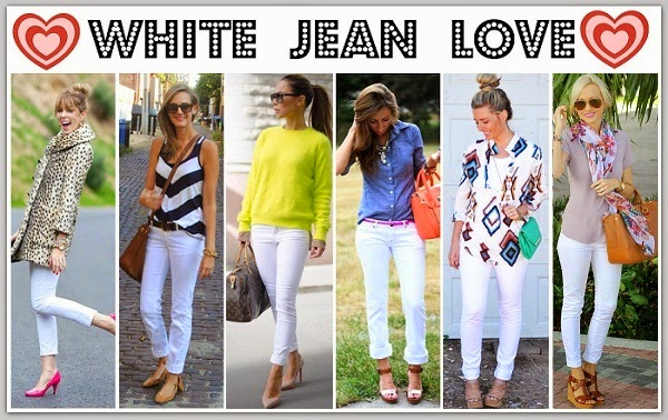 various ways to wear white jeans