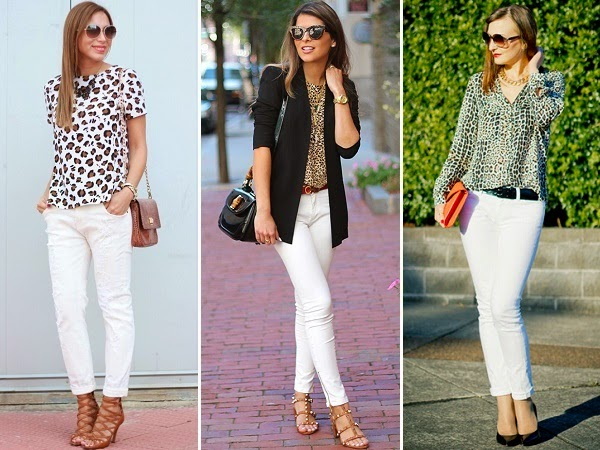 combo of white jeans with animal print tops