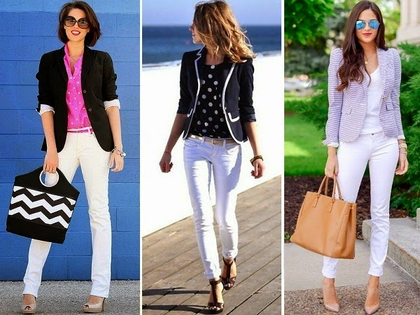 white jeans paired with blazers
