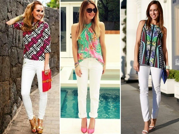 white jeans combo with bold prints and patterns