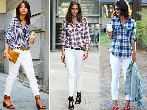 pair of white jeans and checkered shirts
