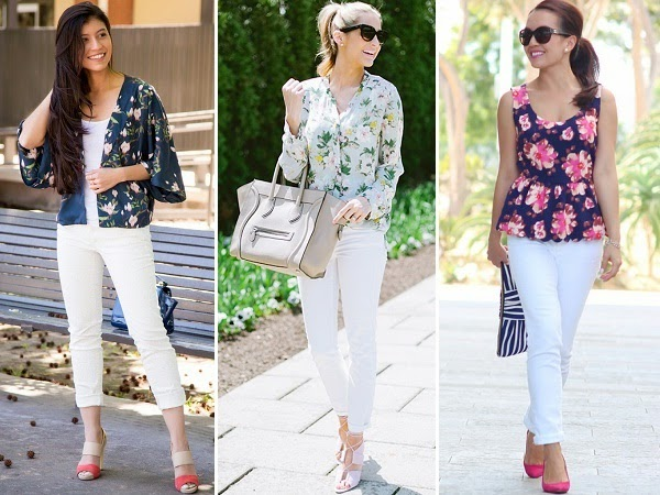 white jeans + floral print tops