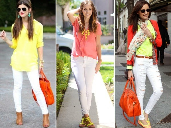 white jeans and bright colored tops