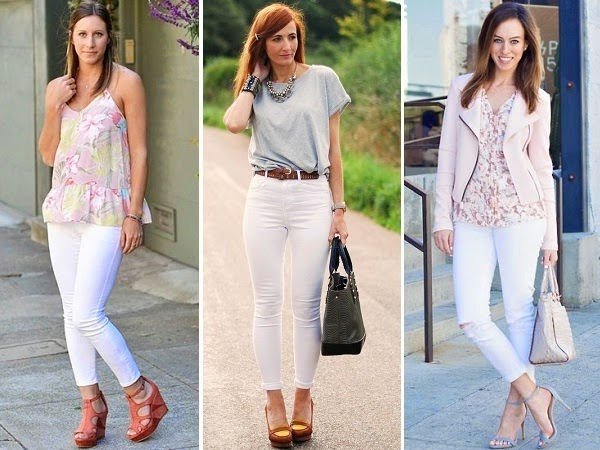 white jeans with neutral tones