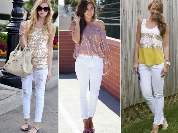 white denim with sequin and sparkly tops
