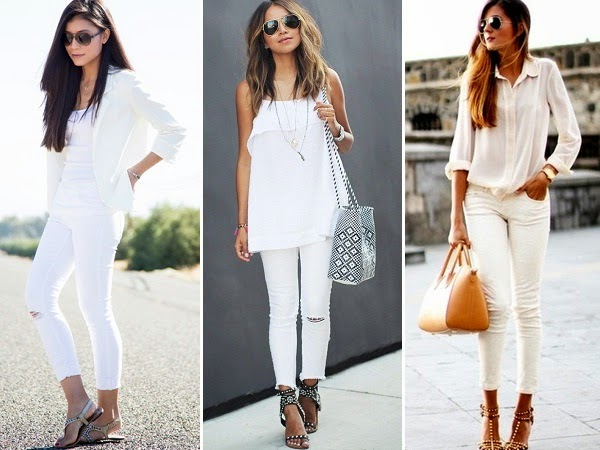 White jeans with white tops