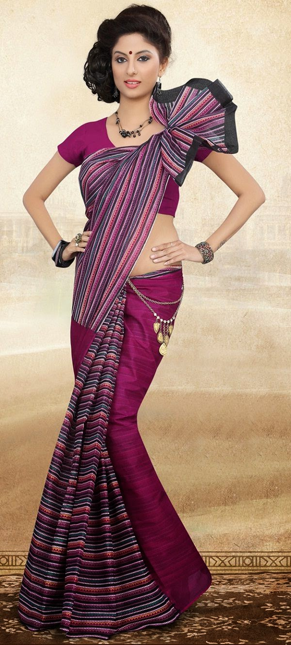 Purple Half and Half cotton indian Saree for Summer 2015