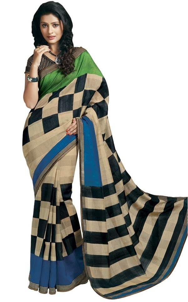 Ishin checkered print daily wear cotton saree