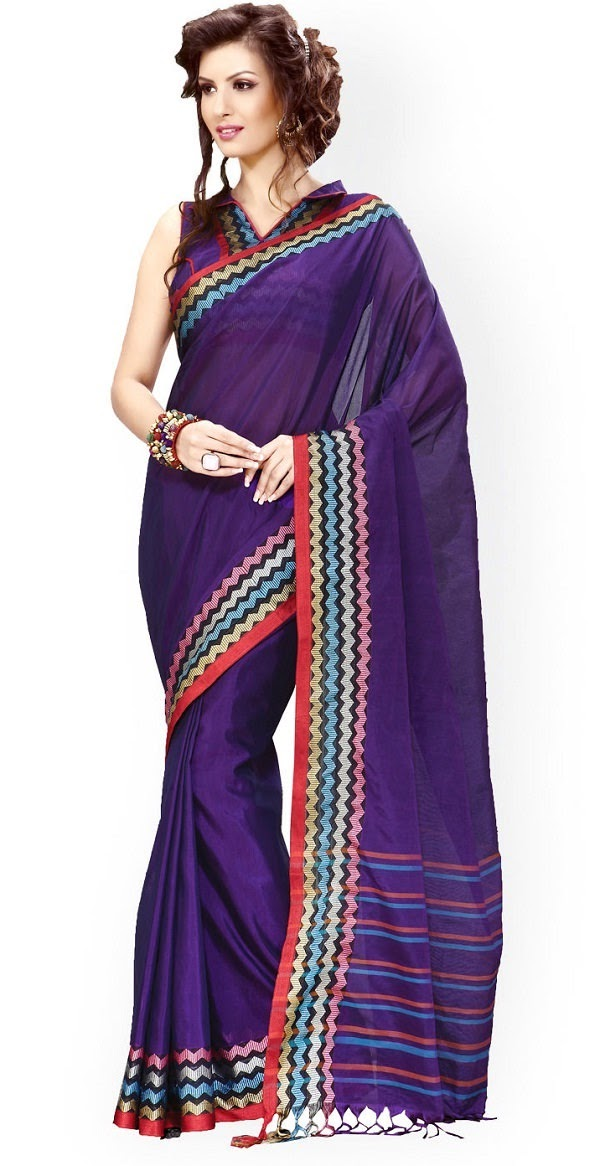 Ishin blue cotton saree with stripes detail
