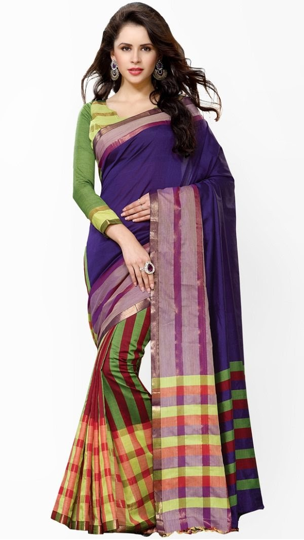 stripes and checkered pattern cotton saree