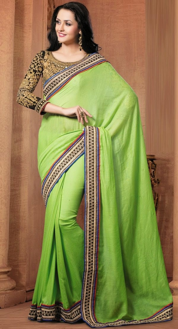Green Party Wear cotton Saree to wear in Summer season
