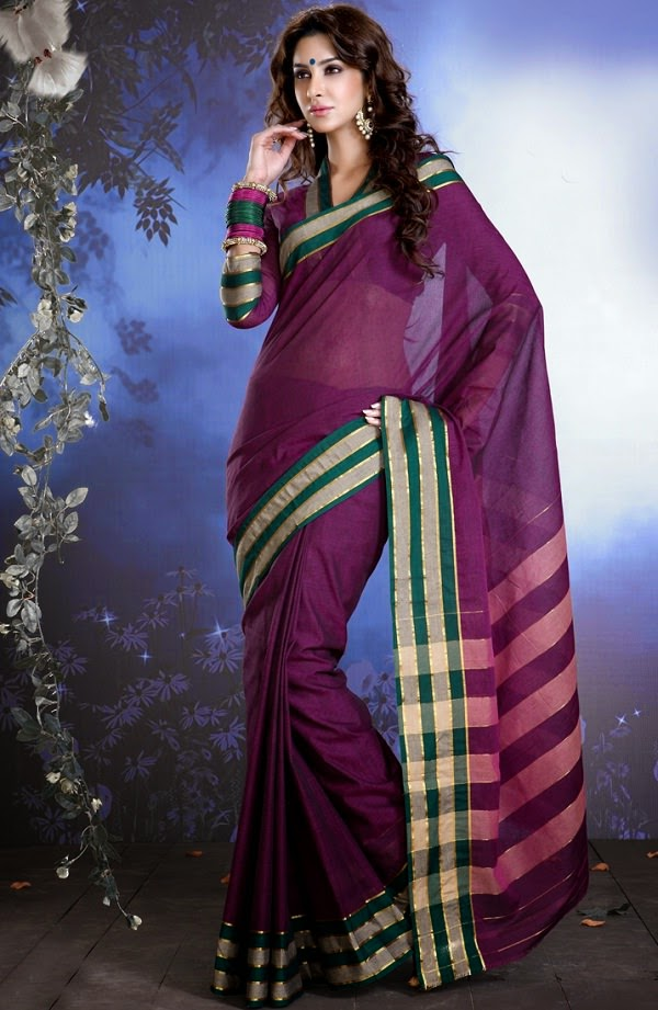 Sattika Purple cotton saree for summer 2015