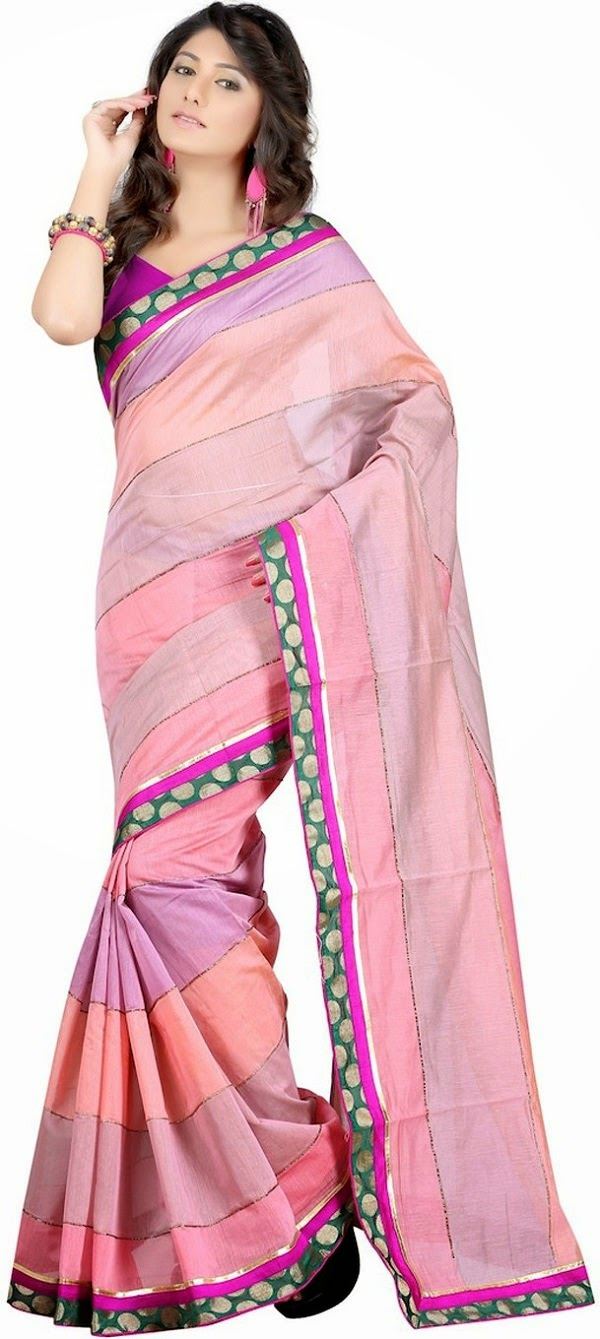 Moiaa pink cotton saree to buy for summer 2015